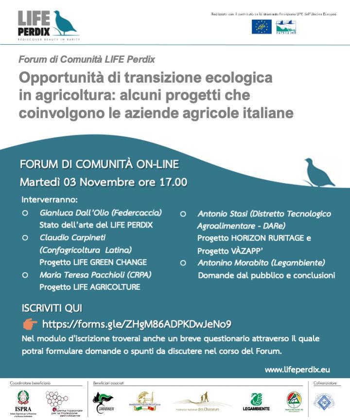 secondo appuntamento online per il Forum di comunità LIFE Perdix
